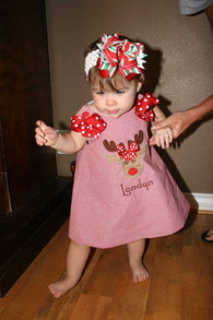 Girls Christmas Deer Dress,Santa Girls Dress,Girls Christmas Dress,Red Gingham Christmas Dress,Appliqué Embroidered Dress Aline Dress
