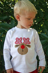 Boys Christmas Deer Shirt with Optional Pants,Deer Shirt,Appliqué Embroidered
