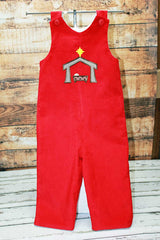 Christmas Manger Jon,Boys Christmas Jon,Red Santa Jon,Appliqué Embroidered Longall Jon
