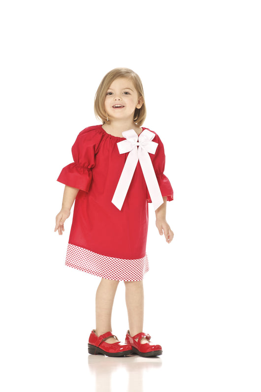 Girls Red Valentine Dress with Bow Option