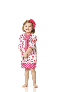 Girls Red and Pink Heart Peasant Dress with Bow Option