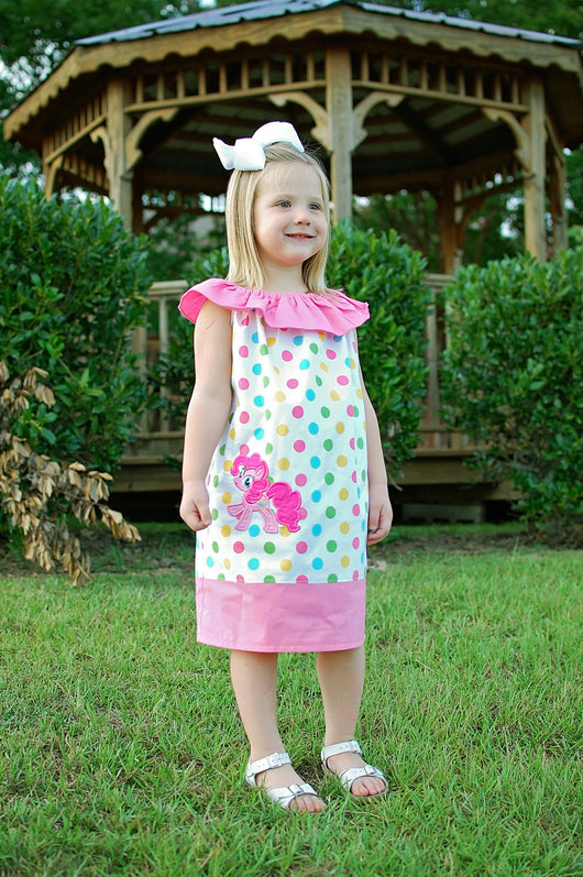 Pinky Pony Girls Dress,Girls Birthday Dress,Girls Party Dress,Ruffle Neck Peasant Dress