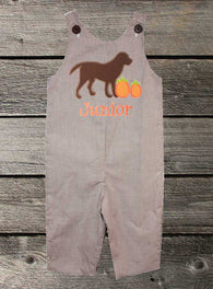 Boys Pumpkin Dog Jon,Boys Thanksgiving Jon,Boys Fall Jon,Boys First Thanksgiving Outfit,Appliquéd Embroidered Jon Jon Shortall Longall