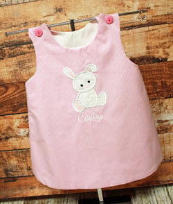 Easter Baby Bunny Dress,Girls Easter Dress,Girls Aline Dress,Appliqué Embroidered Dress Aline Dress