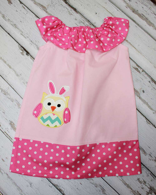 Girls Easter Owl Peasant Dress,Girls Easter Dress,Appliqué Embroidered Dress