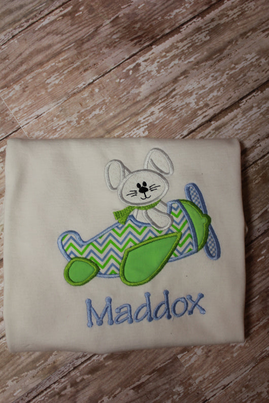 Boys Easter Bunny Airplane Shirt,Boys T shirt or Bodysuit, Appliqué Embroidered