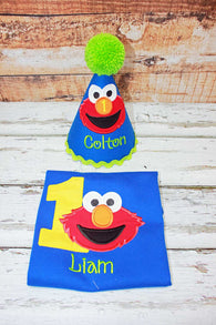 Elmo Birthday Shirt and Hat,First Birthday Elmo Shirt Hat,First Birthday Elmo Clothes,Appliqué Embroidery