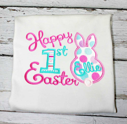 First Easter T shirt Bodysuit,Girls First Easter Shirt,Appliqué Embroidered