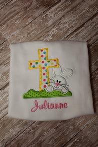 Girls Easter Bunny Cross Shirt,Girls Easter T shirt or Bodysuit, Appliqué Embroidered