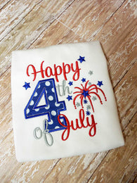 Boys July 4th Shirt,Boys Happy 4th of July Shirt,Boys Patriotic Shirt,Appliqué Embroidered Shirt