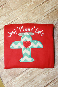 Boys Valentine Airplane Shirt,Just Plane Cute Boys Shirt,Boys Valentine Shirt,Appliqué Embroidered Shirt