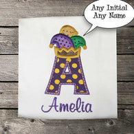 Girls Mardi Gras Shirt,Mardi Gras Initial Shirt,Girls T shirt or Bodysuit, Appliqué Embroidered