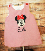 Minnie Mouse Aline Dress,Girls Minnie Dress,Girls Dress,Appliqué Embroidered Dress