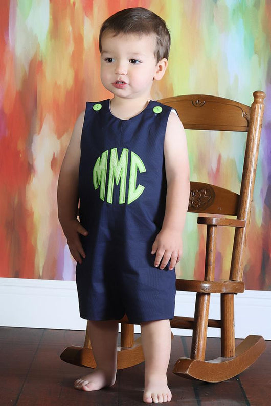 Boys Appliqué Monogram Jon,Boys Personalized Jon,Navy Pique,Jon,Baby Boy Romper, Embroidered Jon