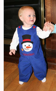 Boys Snowman Jon,Boys Christmas Jon,Appliquéd  Embroidered Longall Jon