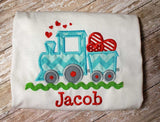 Boys Valentine Train Shirt,Boys T shirt or Bodysuit, Appliqué Embroidered
