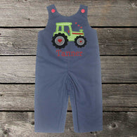 Boys Valentine Jon,Valentine Tractor Jon,Boys First Valentine Clothes,Boys First Valentine Outfit,Appliquéd Embroidered Jon Jon Shortall Longall