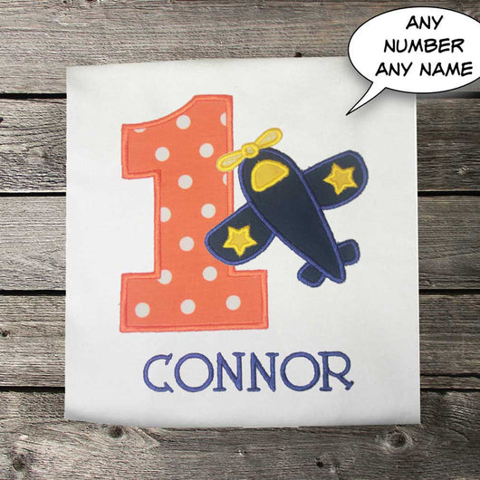Boys Airplane Birthday Shirt,Boys Birthday Shirt,Boys Flying Shirt,Appliqué Embroidered Shirt