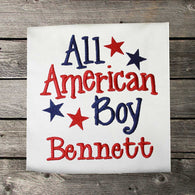 Boys July 4 Shirt,Boys All American Shirt,Patriotic Boys Shirt,Embroidered Boys Shirt