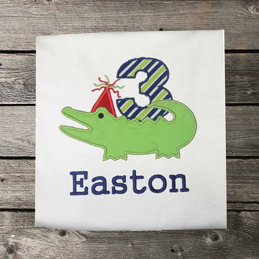 Boys Alligator Birthday Shirt,Boys Birthday Shirt,Boys Alligator Shirt,Appliqué Embroidered Shirt