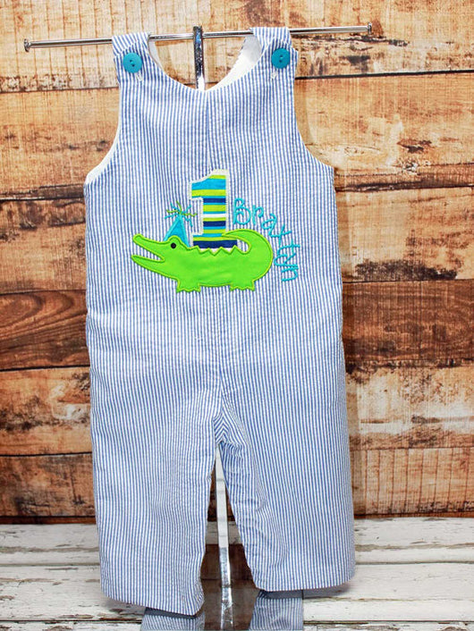 Boys Birthday Alligator Jon,Boys Birthday Jon,First Birthday Jon,Applique Embroidered Jon