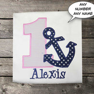 Girls Birthday Shirt,Anchor Birthday Shirt,Nautical Birthday Shirt,Appliqué Embroidered Shirt Bodysuit