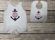 Boys Anchor Monogram Jon and Bib,Boys Beach Shortall,Boys Nautical Clothes Jon,Applique Embroidered Jonof