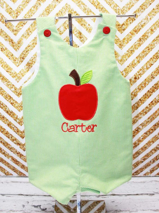 Boys Apple Jon,Boys Back to School,Boys Apple Picking Jon,Applique Embroidered Jon