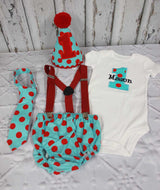 Boys Cake Smash Outfit,Aqua with Red Dot Cake Smash Outfit,Farm Cake Smash,Boys First Birthday Clothes,