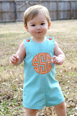 Boys Appliqué Monogram Jon,Boys Personalized Jon,Aqua Pique,Jon,Baby Boy Romper, Embroidered Jon
