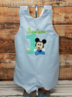 Baby Mickey Birthday Jon,Boys Birthday Jon,Appliqué Embroidered Shortall Longall Jon Jon