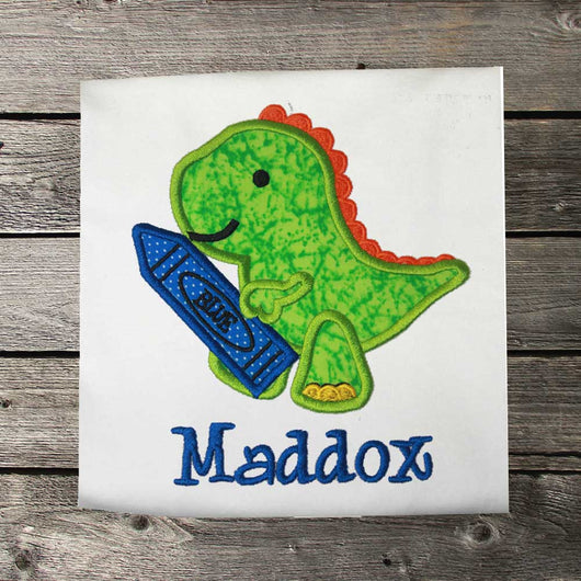 Boys Back to School Shirt,Dinosaur Back to School Shirt,Appliqué Embroidered Shirt