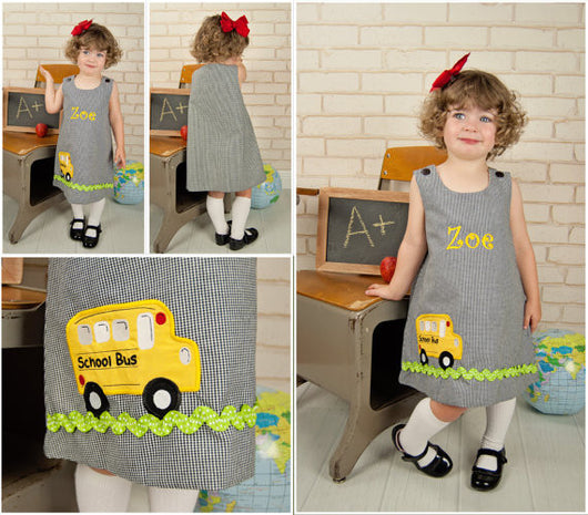 Back to School Dress,School Bus Dress,Girls Aline Dress,Appliqué Embroidered Aline Dress