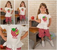 Girls Back to School Shirt,Girls Apple Shirt,Appliqué Embroidered Shirt Bodysuit