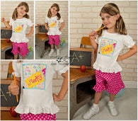 Girls Back to School Shirt,Girls PencilShirt,Appliqué Embroidered Shirt Bodysuit