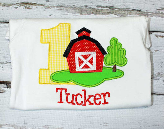 Boys Barn Birthday Shirt,Boys Birthday Shirt,Boys Farm Birthday Shirt,Appliqué Embroidered Shirt