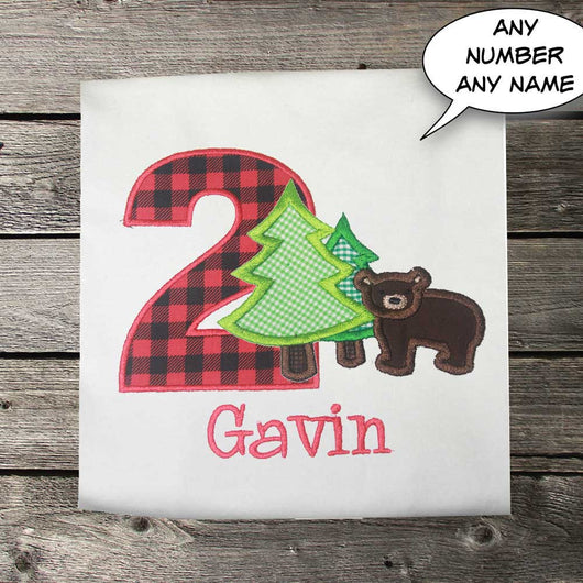 Boys Birthday Shirt,Bear Birthday Shirt,Camping Birthday Shirt,Appliqué Embroidered Shirt Bodysuit