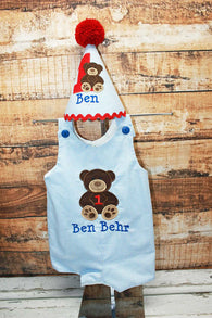 Boys Birthday Teddy Bear Jon,Add Matching Hat, Boys Birthday Jon,First Birthday Jon,Applique Embroidered Jon