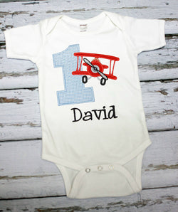 Boys Airplane Birthday Shirt,Boys Birthday Shirt,Boys Biplane Shirt,Appliqué Embroidered Shirt