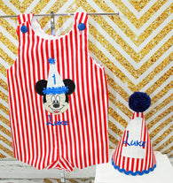 Boys Mickey Birthday Jon and Hat,Boys Birthday Jon,First Birthday Jon,Applique Embroidered Jon
