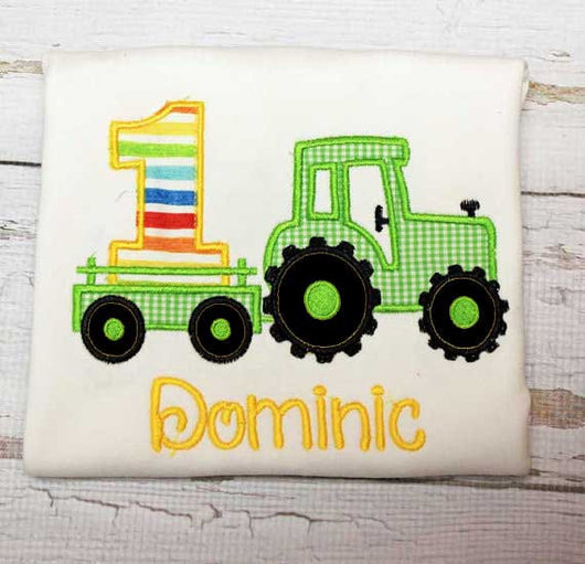 Boys Tractor Birthday Shirt,Boys Birthday Shirt,Boys Farm Birthday Shirt,Appliqué Embroidered Shirt