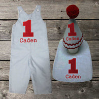 Boys Birthday Outfit,Boys First Birthday Set,First Birthday Jon Hat Bib