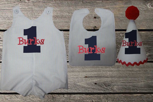 Boys Birthday OutfitBoys First SetFirst Jon Hat Bib