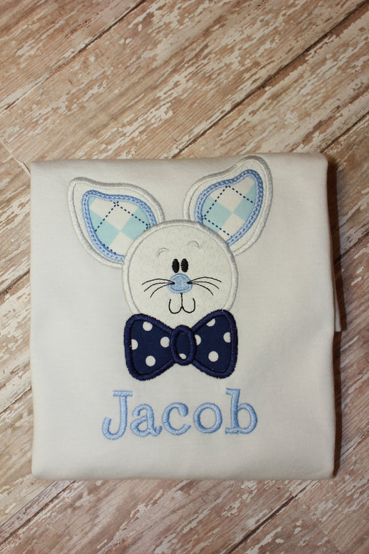 Boys Bow Tie Easter Bunny Shirt,Boys Easter T shirt or Bodysuit, Appliqué Embroidered