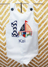Boys Birthday Sailboat Jon,Boys Birthday Jon,First Birthday Jon,Applique Embroidered Jon