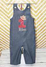 Boys Cowboy Jon,Boys Birthday Jon,First Birthday Jon,Applique Embroidered Jon