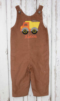 Copy of Boys Dump Truck Jon,Boys Thanksgiving Jon,Boys Fall Jon,Boys First Thanksgiving Outfit,Appliquéd Embroidered Jon Jon Shortall Longall