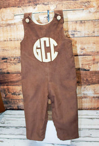 Boys Fall Brown Cord Monogrammed Jon,Boys Monogrammed Jon,Boys First Fall Clothes,Boys First Thanksgiving Outfit,Appliquéd Embroidered Jon Jon Shortall Longall