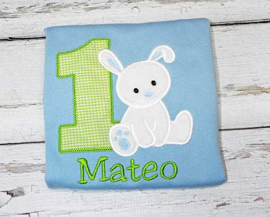 Boys Bunny Birthday Shirt,Boys Birthday Shirt,Easter Birthday Shirt,Boys T shirt or Bodysuit, Appliqué Embroidered