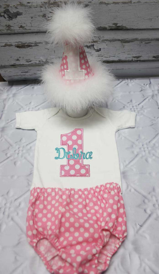 Girls Cake Smash Outfit,Girls Pink Dot Cake Smash Outfit,Girls Number First Birthday Outfit,Appliqué Embroidered